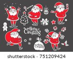 vector set of  cartoon... | Shutterstock .eps vector #751209424