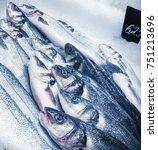 sea bass at fish market | Shutterstock . vector #751213696