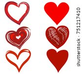 set of red hand drawn hearts in ... | Shutterstock .eps vector #751217410