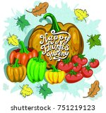 thanksgiving day banner with... | Shutterstock .eps vector #751219123