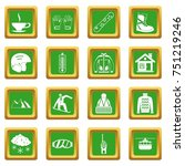 snowboarding icons set in green ... | Shutterstock . vector #751219246