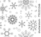 dotted line snowflake seamless...   Shutterstock .eps vector #751221166