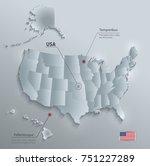 usa map with alaska and hawaii  ... | Shutterstock .eps vector #751227289