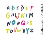 vector font  painted ... | Shutterstock .eps vector #751232374