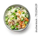 bowl of rice and vegetables...   Shutterstock . vector #751234129