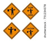traffic caution signal sign... | Shutterstock .eps vector #751234378