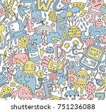 hand drawn detailed cartoon... | Shutterstock .eps vector #751236088