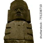 Small photo of Dark stone toltec warriors on a white background. Atlantean columns on Pyramid B. Tula De Allende. Mexico