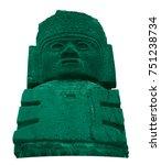 Small photo of Stone toltec warriors on a white background. Atlantean columns on Pyramid B. Tula De Allende. Mexico