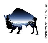 silhouette of bull with blue... | Shutterstock . vector #751242250