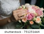 Bride In A Stylish Ivory Dress...