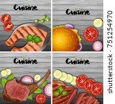 food menu meals on wood | Shutterstock .eps vector #751254970