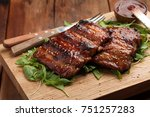 closeup of pork ribs grilled... | Shutterstock . vector #751257283