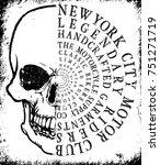 skull t shirt graphic design | Shutterstock .eps vector #751271719