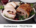 roasted pork loin stuffed with... | Shutterstock . vector #751278106