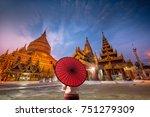 golden shwezigon pagoda in... | Shutterstock . vector #751279309