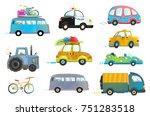 car bus taxi police truck... | Shutterstock .eps vector #751283518