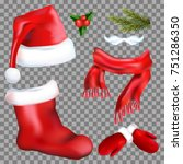 set of christmas accessories... | Shutterstock .eps vector #751286350