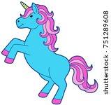 Cartoon Blue Unicorn With Pink...