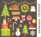 vector flat winter holiday set. ... | Shutterstock .eps vector #751292320