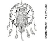 dreamcatcher. owl. tattoo art ... | Shutterstock .eps vector #751298080