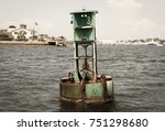 ocean buoy. green sea buoy.... | Shutterstock . vector #751298680