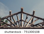 abstract outdoor wooden canopy... | Shutterstock . vector #751300108