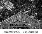 abstract outdoor wooden canopy... | Shutterstock . vector #751300123