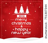 merry christmas and happy new... | Shutterstock .eps vector #751307344