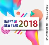 new year 2018. colorful design. ... | Shutterstock .eps vector #751321489