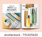 cosmetic magazine template  top ... | Shutterstock .eps vector #751325620