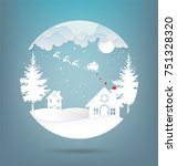 vector illustration of winter... | Shutterstock .eps vector #751328320