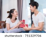 young asian couple valentine... | Shutterstock . vector #751329706