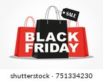 shopping bags with black friday ... | Shutterstock .eps vector #751334230