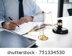 legal counsel presents to the... | Shutterstock . vector #751334530