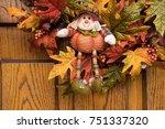 Close Up Of Autumn Leaf Wreath...