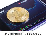 golden bitcoin against currency ... | Shutterstock . vector #751337686