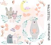 Stock vector cute cartoon cat kitty kitten rabbit bunny teddy bear flower garden character warm and satisfied 751337794