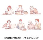 study hard students character... | Shutterstock .eps vector #751342219