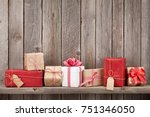 christmas gift boxes in front... | Shutterstock . vector #751346050