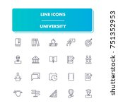 27. line icons set. university...