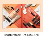 cosmetic magazine template  top ... | Shutterstock .eps vector #751353778