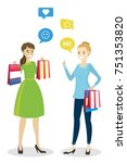 fashion girls with shopping... | Shutterstock .eps vector #751353820