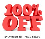 one hundred percent off.... | Shutterstock . vector #751355698