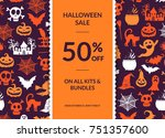 vector halloween background... | Shutterstock .eps vector #751357600