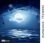 Vector Dark Blue Night Sky  Th...