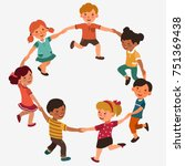 happy kids holding hands and...   Shutterstock .eps vector #751369438