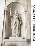 Small photo of LISBON, PORTUGAL – October 12, 2017: Statue of a woman symbolising Consideration in the main entrance, concierge hall, of the Ajuda National Palace in Lisbon Portugal.