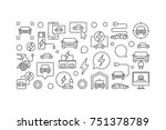 electric car horizontal line... | Shutterstock .eps vector #751378789