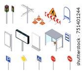 street objects set isometric... | Shutterstock . vector #751401244